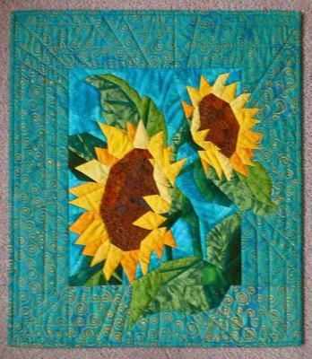 with from p quilt s pattern quilts applique embellished sunflower hanging pat ribbon golden gabby wall hot