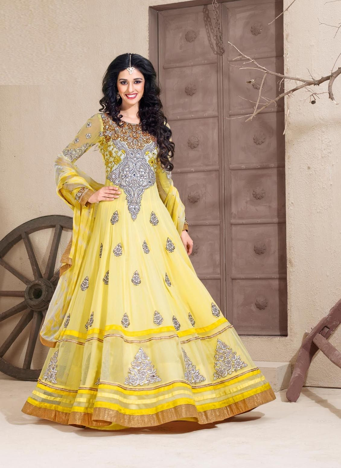Marvelous Yellow Applique Work Faux Georgette Anarkali Suit. Product Code : LBZ001201 Price : ₹5,090.00 Buy Now :- http://goo.gl/jTy5Zf
