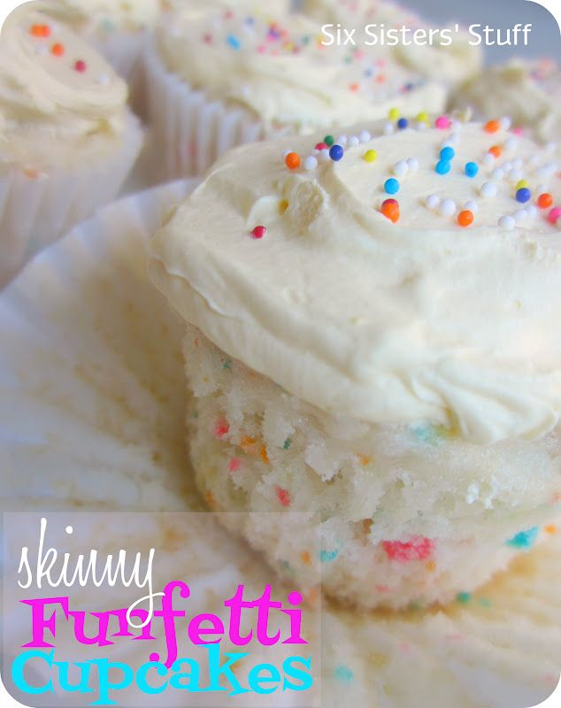 Skinny Funfetti Cupcakes from sixsistersstuff.com.  Only 110 calories per cupcake and SO DELICIOUS! #recipes #dessert #cupcakes