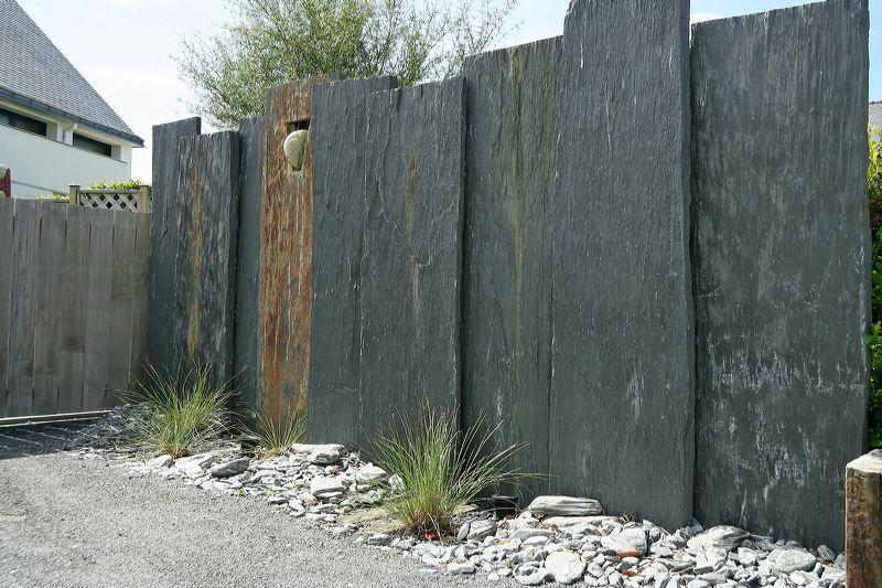 Cl ture par palis de schiste cr ation sarl pain concept design paysage france r alisations - Par vue de jardin ...