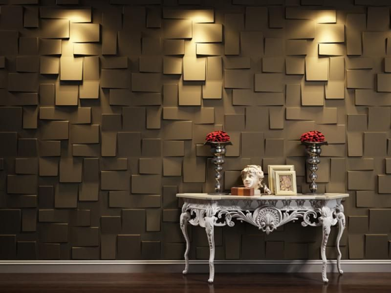 Contemporary 3d wallpaper with lighting decoration on wall for 3d brown wallpaper