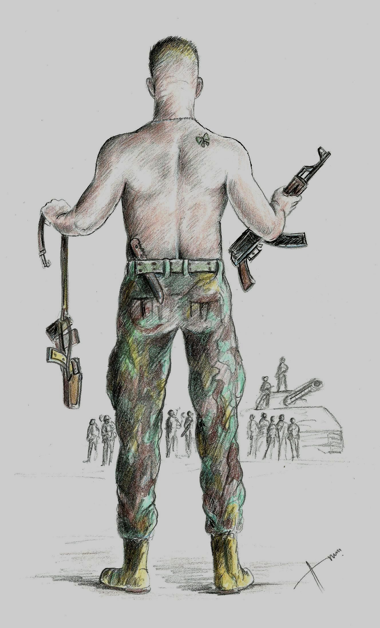 Water Color Pencil Illustration By Anwar Aminarmy Soldier Ak 47