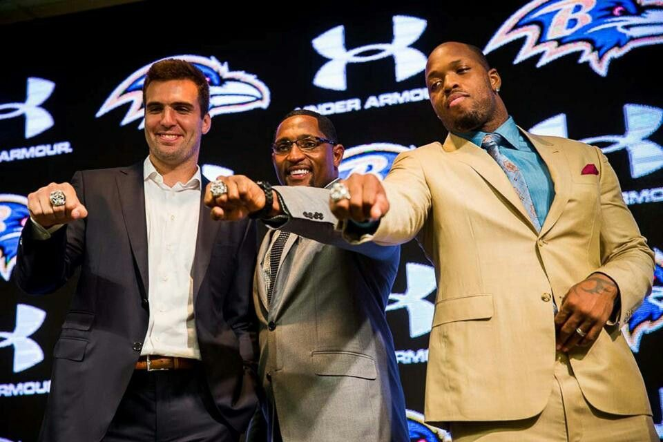 Joe Flacco Ray Lewis And Terrell Suggs With Their Super