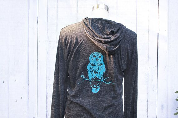 Owl Hoodie - Unisex - Alternative Apparel - Heather Black Sweatshirt - In Small, Medium, Large, Extra Large, 2X - Clothing - Eco Fashion on Etsy, $36.00