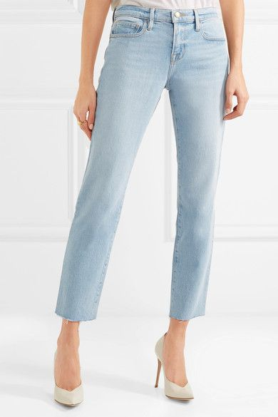 Le Boy Straight Cropped Mid-Rise Jeans - Blue Frame Denim aysIbY