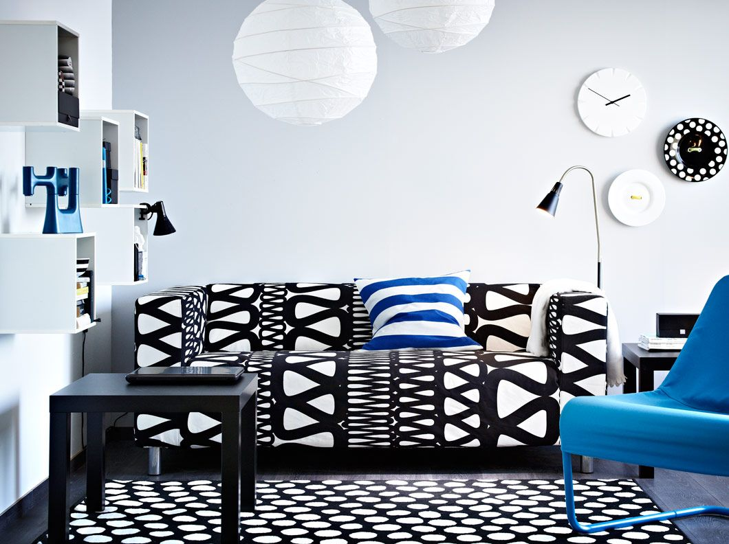 KLIPPAN two-seat sofa with Storlien black/white cover, LACK black ...