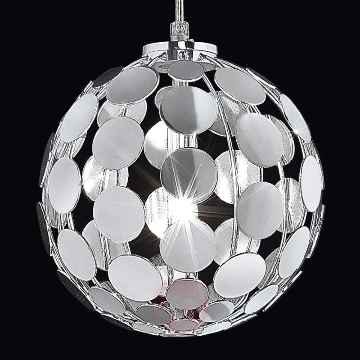 Chromowana lampa wisząca SFERA, śr. 20 cm   Lampy wiszące