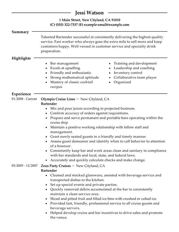 Bartender Resume Sample Resume Pinterest Sample resume - Example Of A Resume Summary