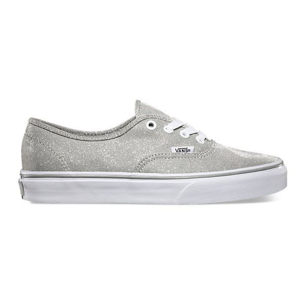 Shimmer Authentic (€49) ❤ liked on Polyvore featuring shoes, sneakers, silver, glitter shoes, low tops, vans sneakers, lace up shoes y vans shoes