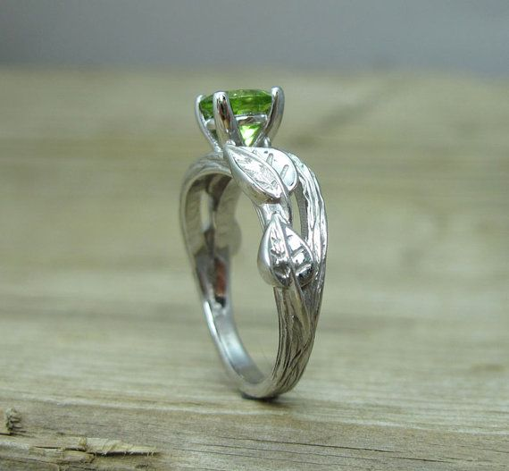 Peridot Engagement Ring Leaf Engagement Ring With Peridot
