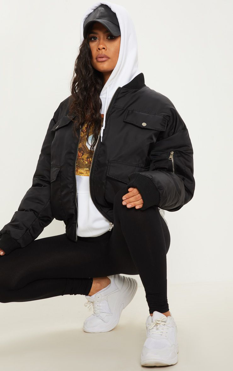 Black Oversized Bomber Black Bomber Jacket Outfit Women Oversized Jacket Bomber Jacket Outfit [ 1180 x 740 Pixel ]