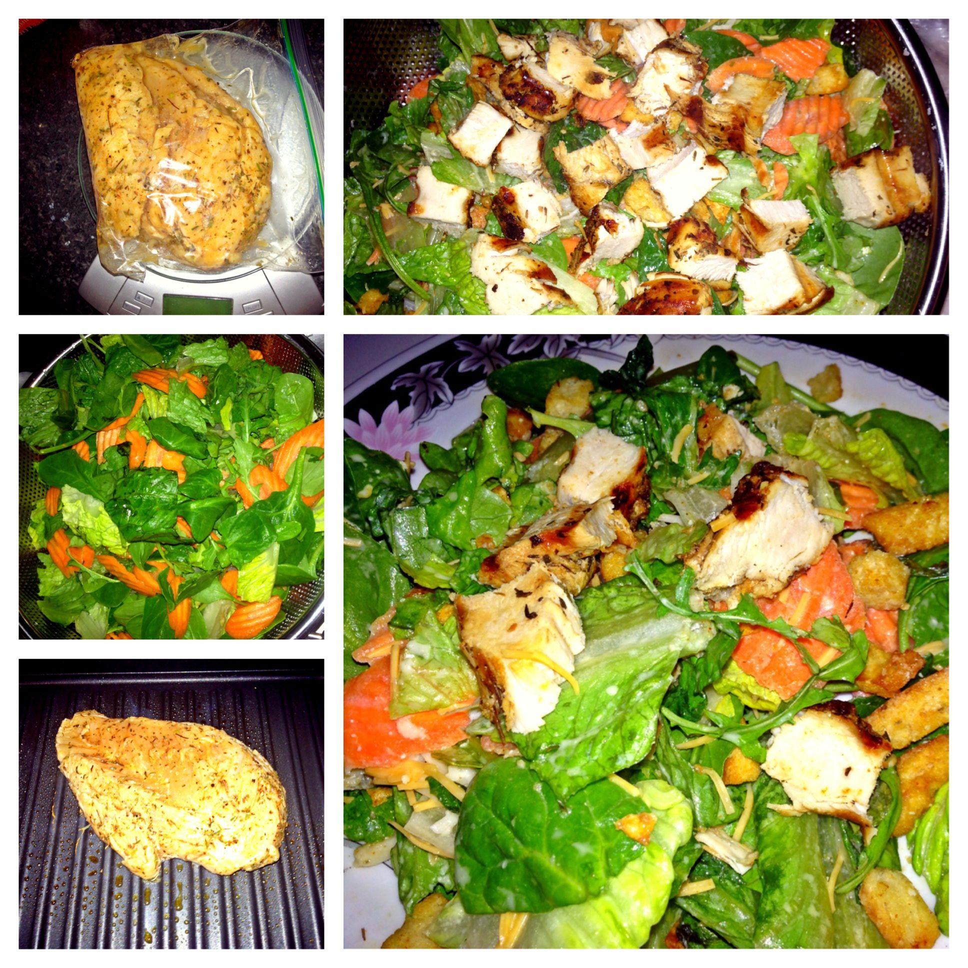 GrilledChicken Salad w/ my sister's Olive Garden dressing
