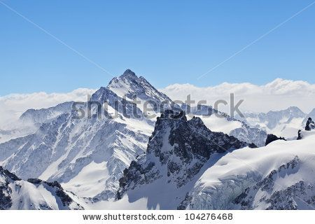 Winter landscape in the Matterhorn - stock photo