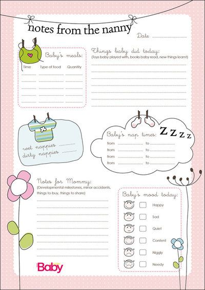 NannyScheduleTemplateForBaby  To Download The Nanny Chart As