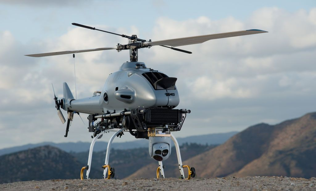 Rotary Bat or R-Bat Northrop Grumman, USA and Yamaha JP. It's an unmanned helicopter used for tactical intelligence, surveillance and reconnaissance missions. Click for the article.