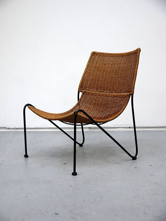 Frederick Weinberg Rare Wicker Lounge Chair 1950s And Iron Construction