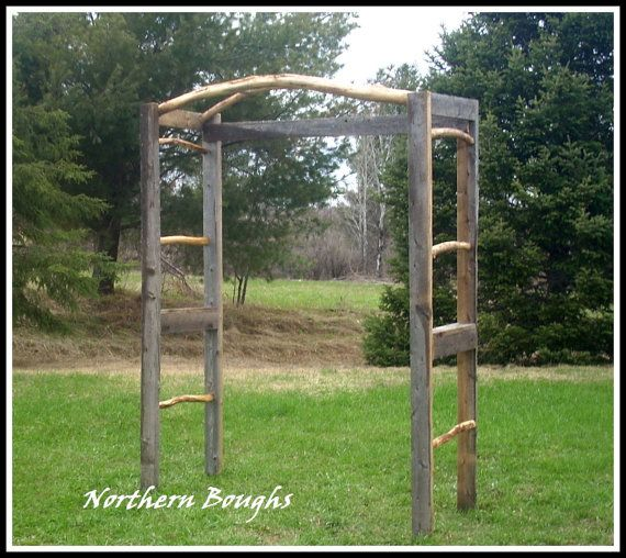 Rustic Outdoor Wedding Arches For Weddings: Weathered White Cedar Rustic Wedding Arch Kit, Rustic