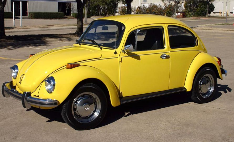 example of saturn yellow paint on a 1973 volkswagen beetle   my