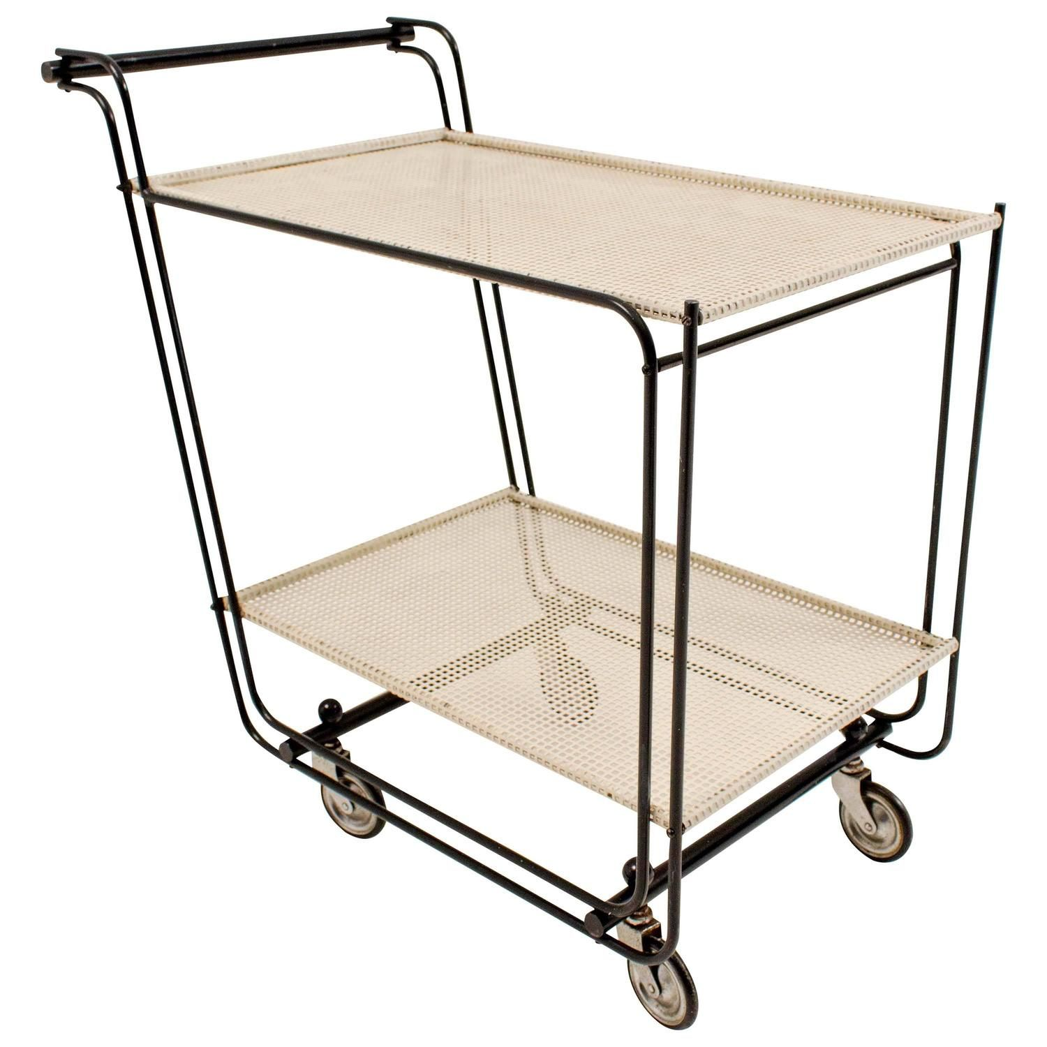 stylish mid century modern bar cart or tea trolley in the style of mategot in 2019 ffe side. Black Bedroom Furniture Sets. Home Design Ideas