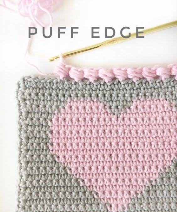 Crochet Puff Edge For Heart Baby Blanket Crochet Pinterest