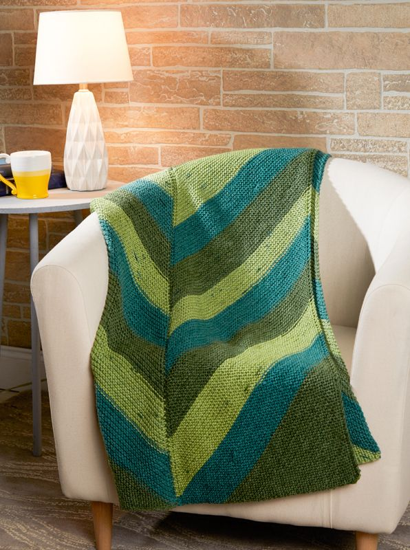 Premier Yarns Sweet Roll Simple Chevron Throw Free Knitting