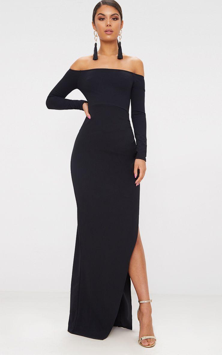 Black Wrap Over Long Sleeve Bardot Maxi Dress Dresses Maxi Dress Strapless Dress Formal [ 1180 x 740 Pixel ]