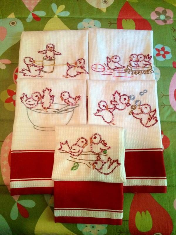 Fun tea towels to make.  I used burgundy, peach, and brown as the basic colors on all five and added one more color per towel ( yellow string, pink soap, silver bowl/spoon, blue bubbles, and green leaves.