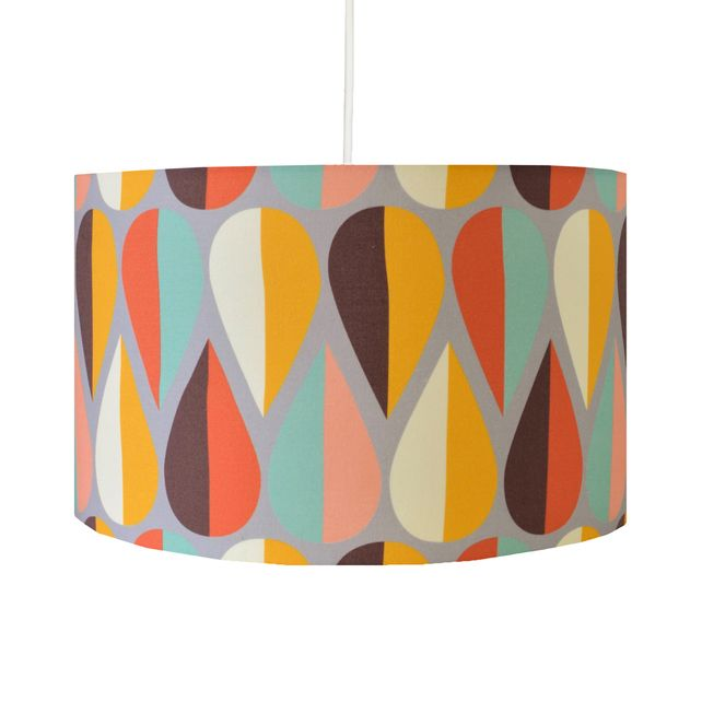 Retro scandinavian inspired leaf print on folksy autumn drum autumn drum pendant lamp shade aloadofball Images
