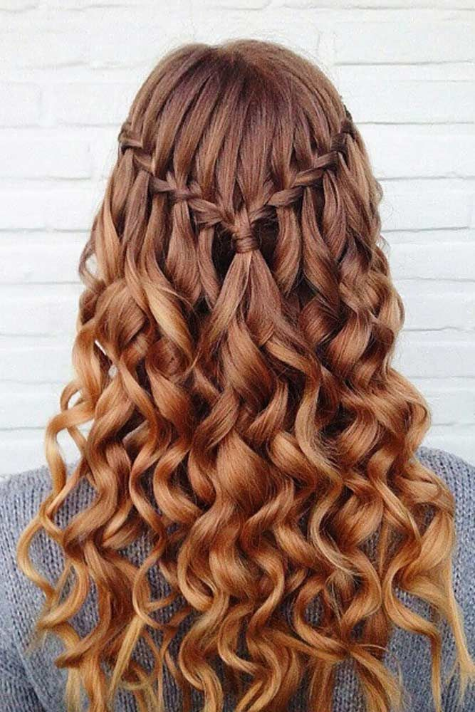 Try 42 Half Up Half Down Prom Hairstyles Lovehairstyles Com Hot Hair Styles Down Hairstyles For Long Hair Waterfall Braid With Curls