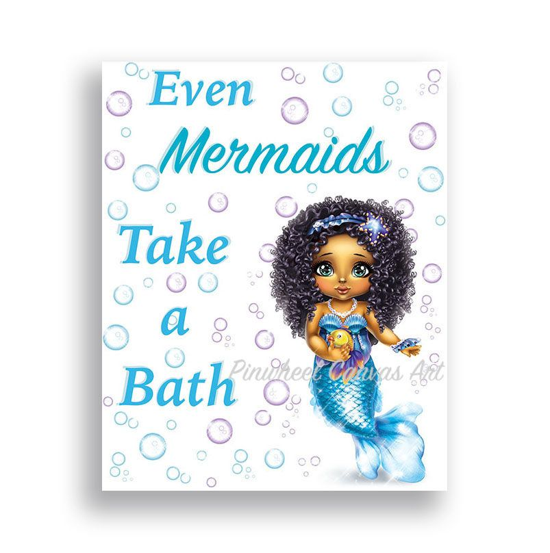 Mermaid Bathroom Wall Decor African American Girl Wall Art Mermaid Under the Sea Wall Art Girl Bathroom Sign Take a Bath Mermaid Canvas Art #mermaidbathroomdecor