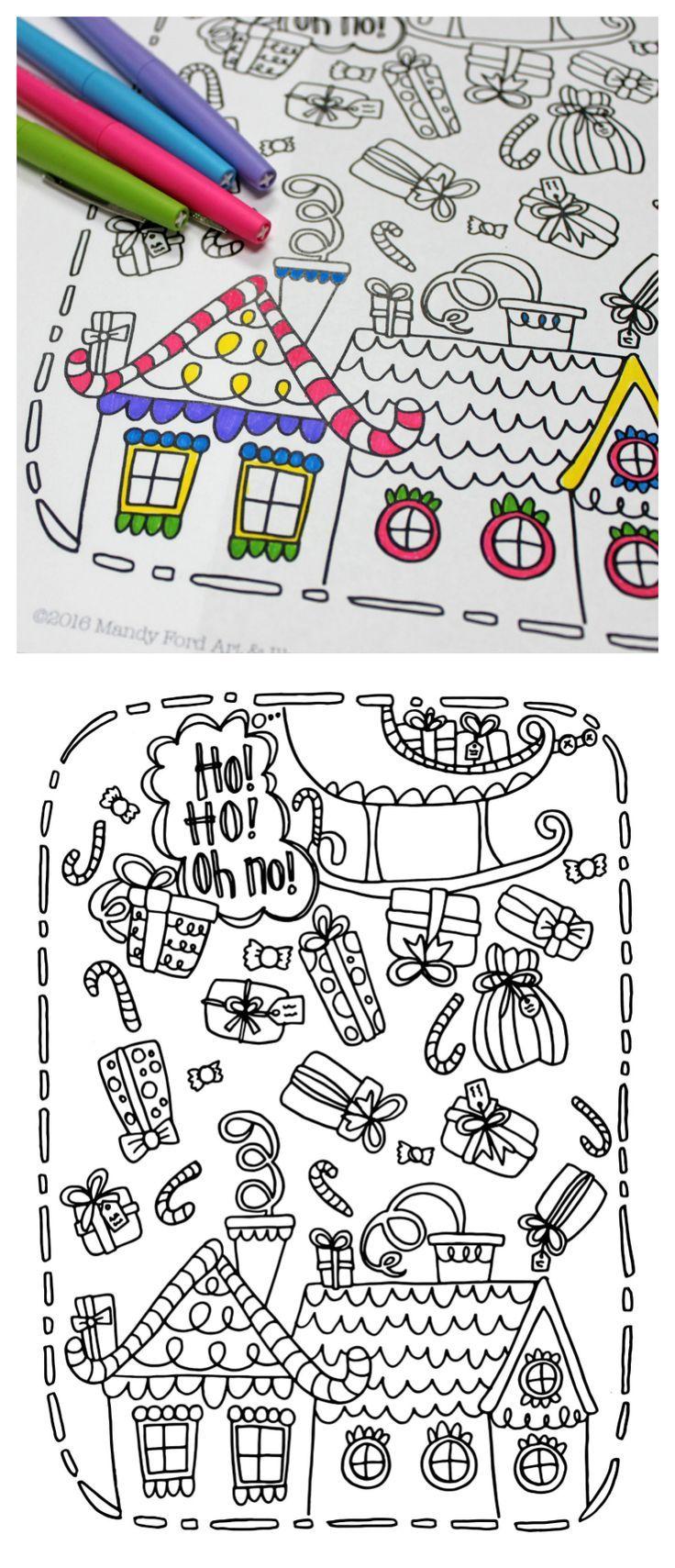 Printable Christmas Coloring Page | Sellos digitales, Colorear y Nota