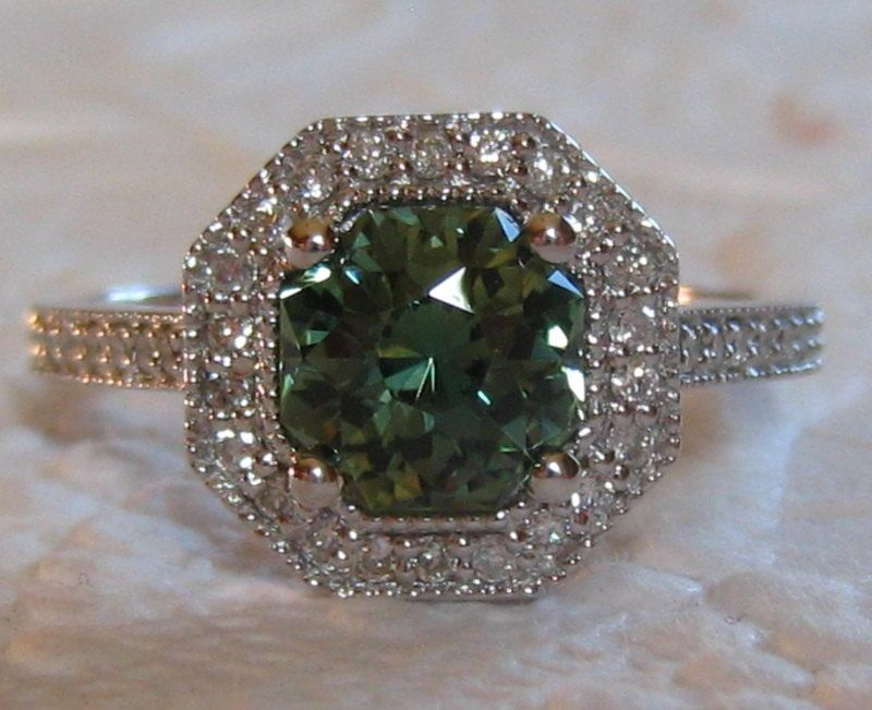 Green Sapphire Engagement Ring, 1.65 Carat Precision Cut Untreated Green Sapphire in White Gold Milgrain Bezel Diamond Halo Engagement Ring by JuliaBJewelry on Etsy