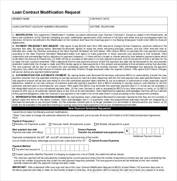 Loan Contract Modification Request 26 Great Agreement Template Is