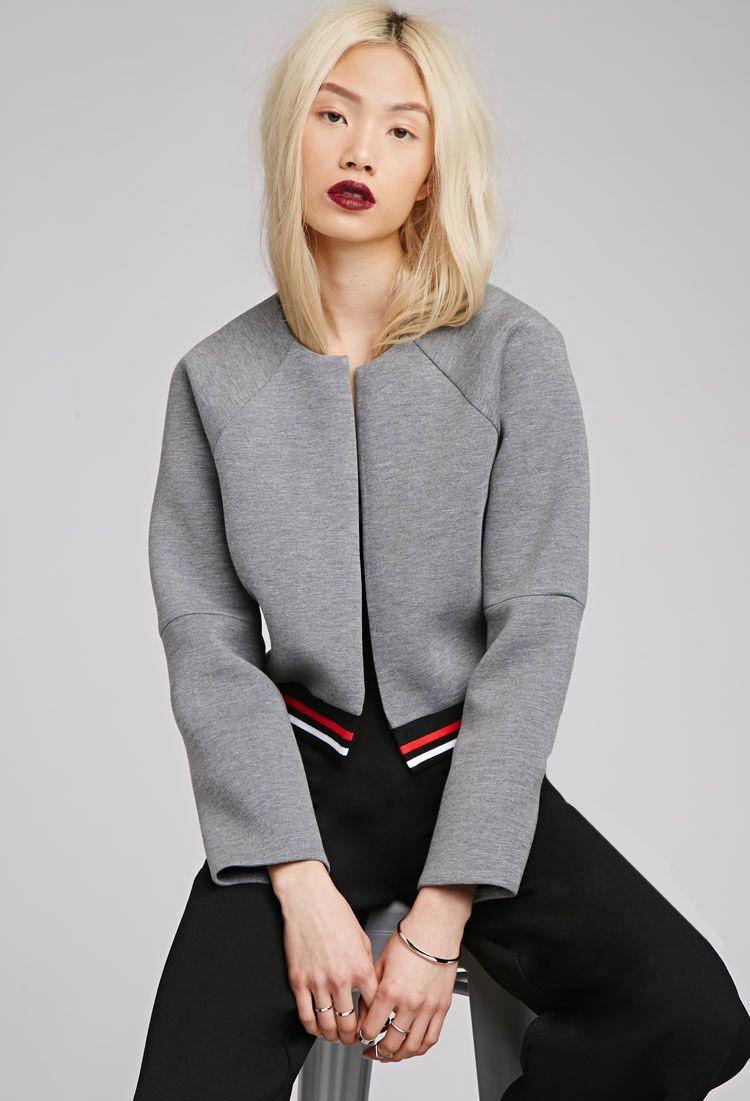 Varsity Striped Scuba Knit Jacket   FOREVER21 2000133437