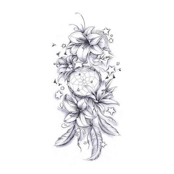 Tattoo Designs Gallery of Artwork and Videos | Custom Tattoo Design -  Lilly Dreamcatcher Tattoo Drawing  - #artwork #custom #design #designs #gallery #tattoo #tattoocrafts #tattooforwomen #tattooquotes #thightattoo #videos
