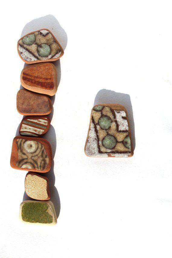 Italian beach pottery shardsvintage natural beads sea by SeaZephyr, $9.00