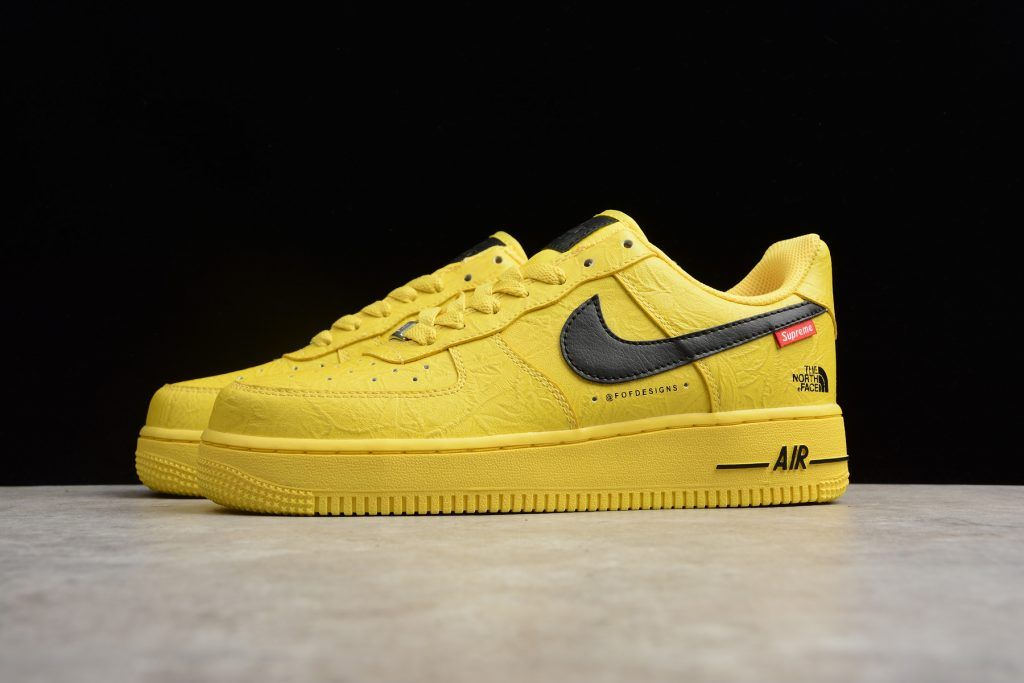 6951bca536853 2018 Supreme x The North Face x Nike Air Force 1  07 Yellow Black Shoes-2