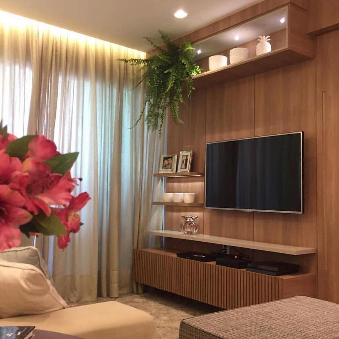 Sala De Tv Compacta E Linda Inspira O Via _homeidea Observem  -> Fotos Parede Revestida De Sala