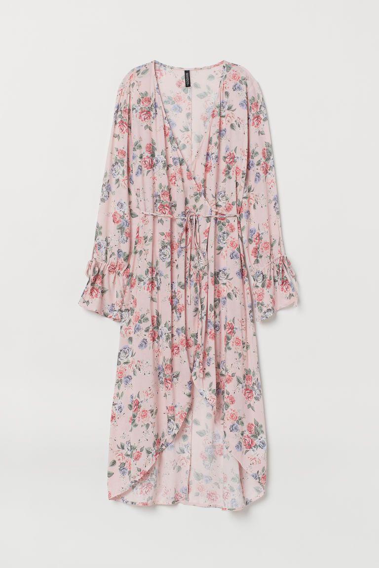 Patterned Wrap-front Dress - Light pink/floral - Ladies | H&M US