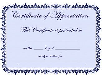 printable certificates of appreciation  appreciation template - Commonpence.co