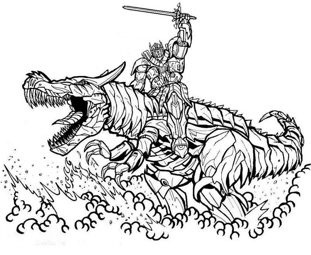 Optimus Prime And Grimlock By Godzillafan1954 On Deviantart Dinosaur Coloring Pages Transformers Coloring Pages Dragon Coloring Page