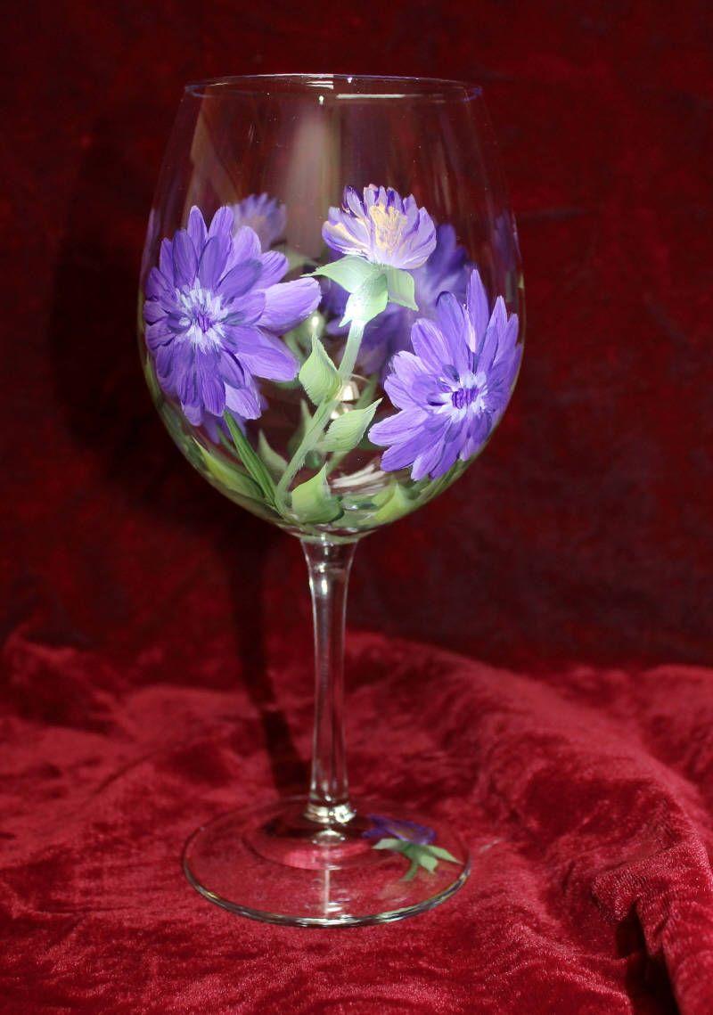 Hand Painted Wine Glasses Purple Dahlia On Clear Goblet Set Etsy In 2020 Hand Painted Wine Glasses Painted Wine Glasses Glass Painting Designs