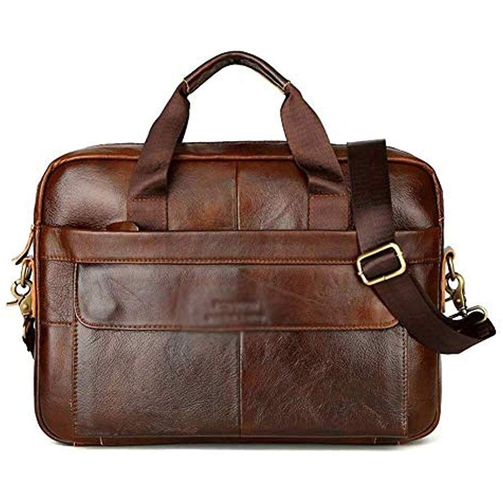 Men Vintage Leather Shoulder Messenger Crossbody Bag Business Handbag Tote Pack