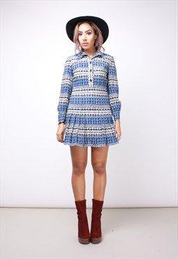 Vintage 70s Black Blue & Cream Long Sleeve Dress 113APA13 W