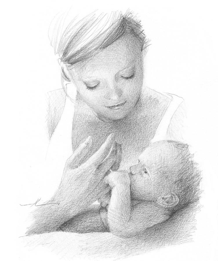 Mom And Baby Pencil Portrait by Mike Theuer in 2020 ...