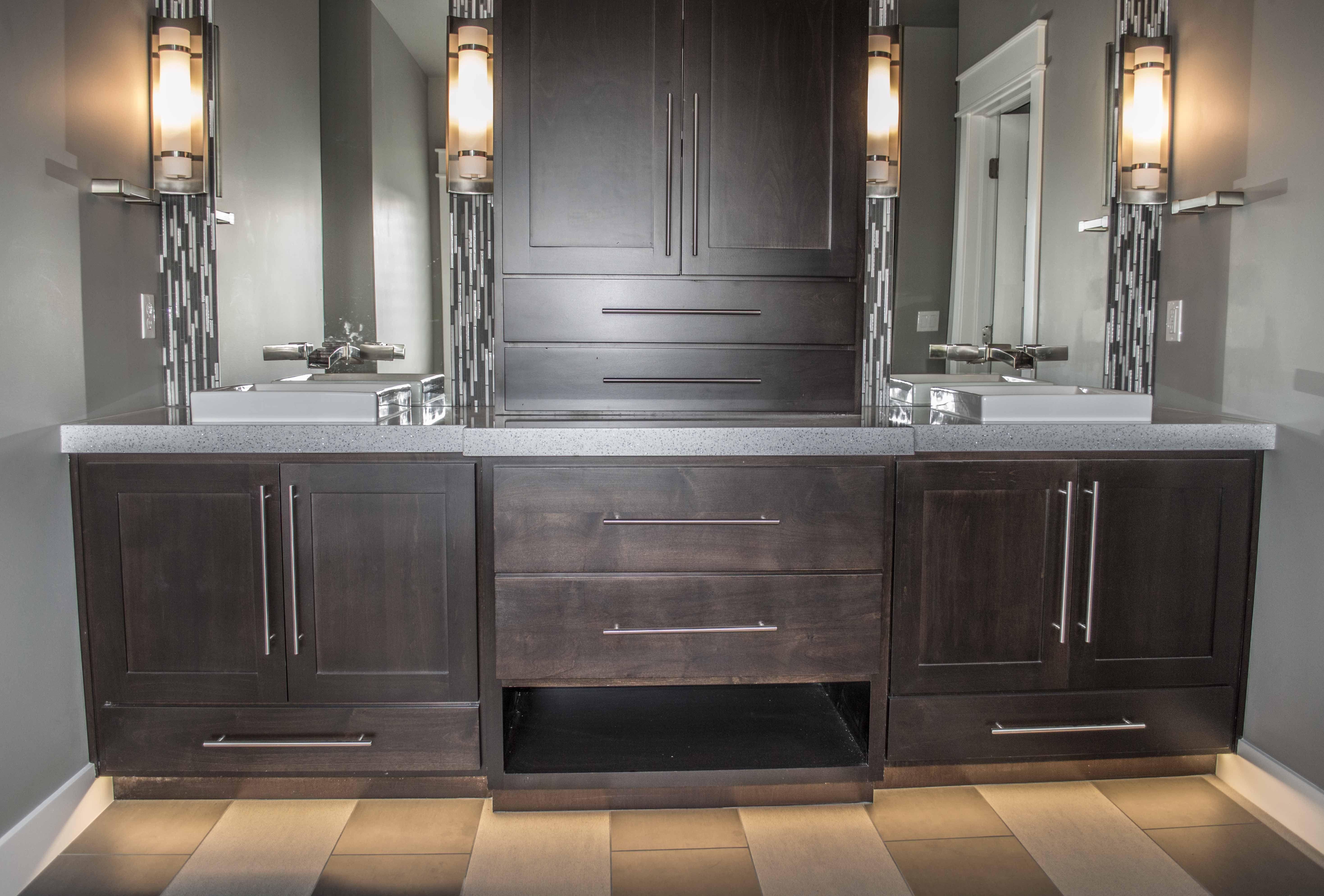We love this master bathroom vanity! Plenty of storage ...