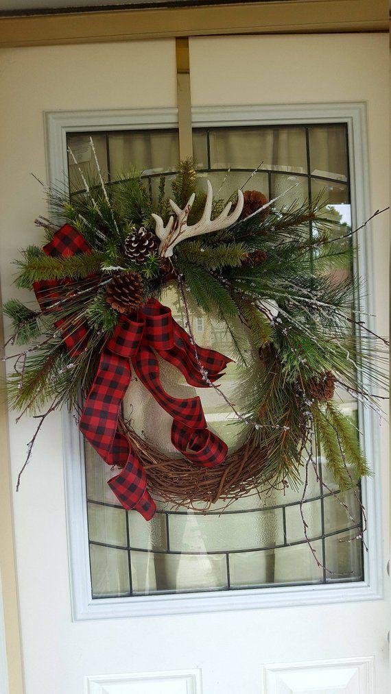 Photo of Woodsy wreath, rustic wreath, cabin wreath, winter door wreath, Christmas wreath, woodsy winter wreath ,antler wreath,buffalo check wreath,