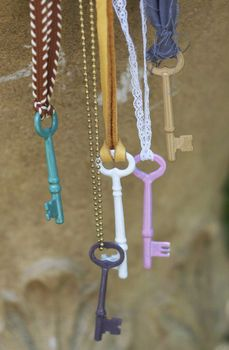 vintage key necklaces painted with nail polish
