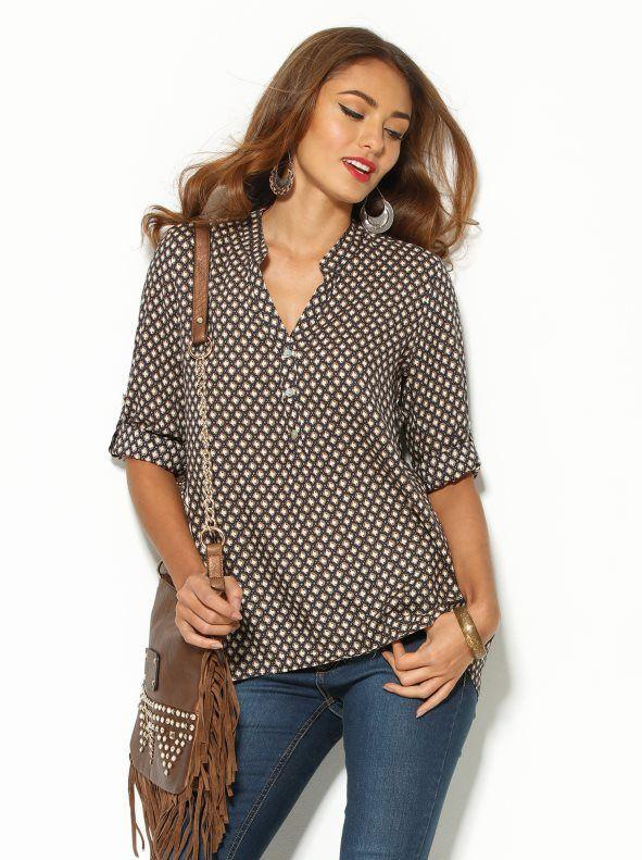Camisa mujer manga regulable estampada de algodón  ab9c6e6e31dd3