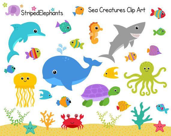 Kinderzimmer clipart  Sea Creatures Clip Art - Under the Sea Clipart - Ocean Animals Clip ...
